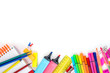 School supplies on white background. Copyspace. Top view
