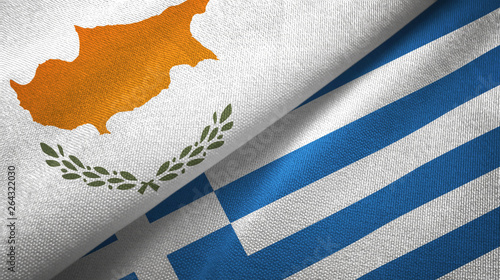 Foto op Aluminium Cyprus Cyprus and Greece two flags textile cloth, fabric texture