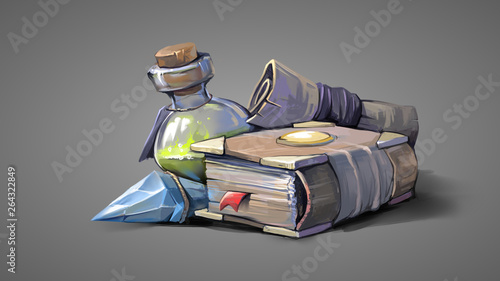 Fotografía  Magic items on a gray background. Digital painting illustration.
