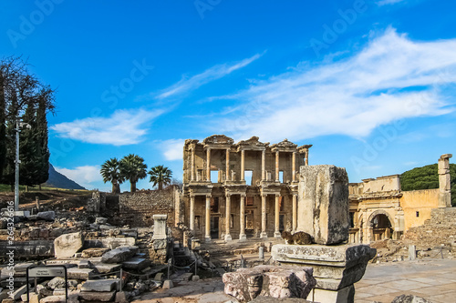 Fototapeta The facade of the Library of Celsus, reconstructed from original pieces