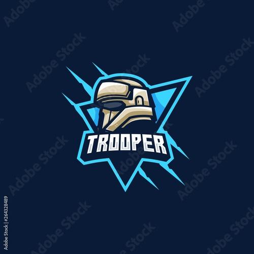 Fotomural Trooper mascot Games illustration Vector Template