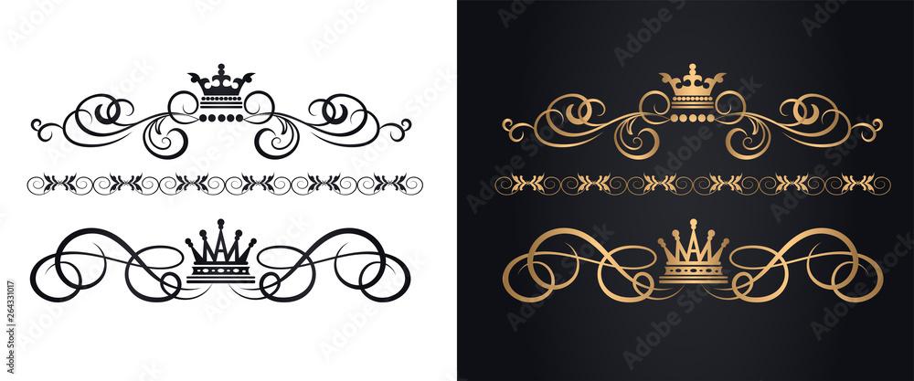 Fototapeta Golden elements in royal style for design
