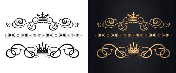 Golden elements in royal style for design