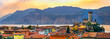 Leinwandbild Motiv Lago di Garda village skyline of Malcesine peaceful panoramic town on  waterfront romantic horizontal panorama and idyllic picturesque castle