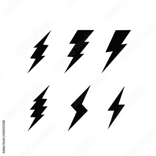 Valokuvatapetti Thunder bolt and flash Logo Design, Icon Vector