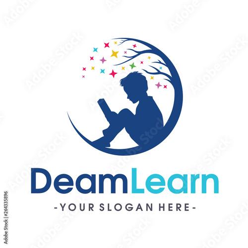 Children Smart reading logo Vector Wall mural