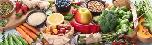 Fotografía  Healthy vegan and vegetarian food. Panorama, banner