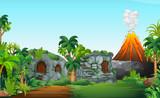 Fototapeta Dinusie - A nature prehistoric scene