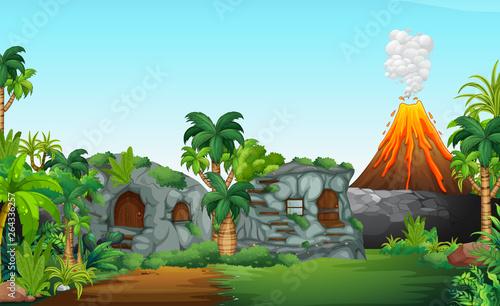 Fototapeta A nature prehistoric scene