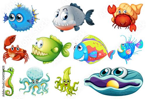 Türaufkleber Kinder Set of sea creature
