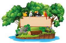 Jungle And Bird Wood Sign