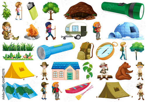 Poster Jeunes enfants Set of caming objects