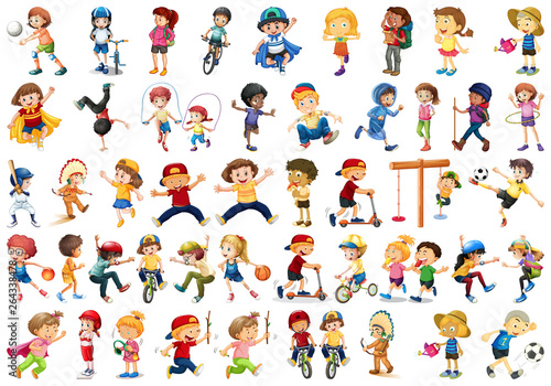 Poster Jeunes enfants Set of children doing activites