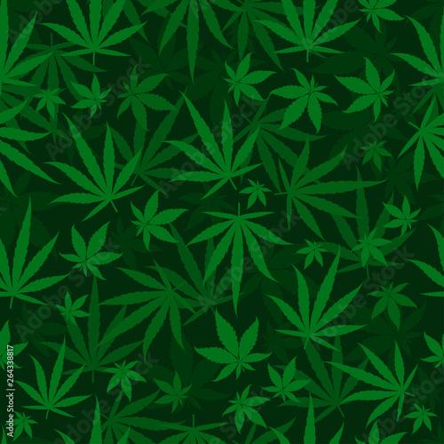 Marijuana green leaves on a deep dark green background Wallpaper Mural