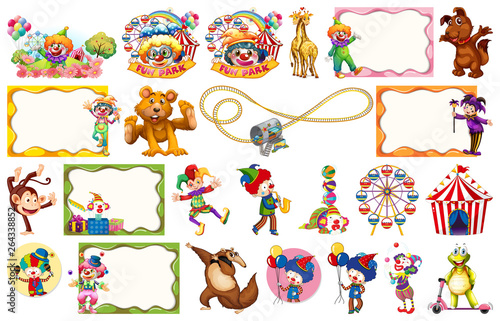 Foto op Plexiglas Kids Set of circus element
