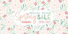 Elegant Hand-Painted Spring Sale Promotion Horizontal Banner With Floral Wreath. Special Offer Social Media Graphics