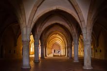 Alcobaca, Portugal. Monks Dormitory Of Monastery Of Santa Maria De Alcobaca Abbey. Masterpiece Of Medieval Gothic Architecture. Cistercian Religious Order