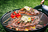 Barbecued beef steak garnished with butter