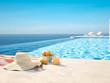 Leinwandbild Motiv 3D-Illustration. modern luxury infinity pool with summer accessoires