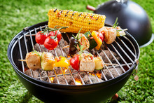 Vegetables And Tofu Grilled On Grid