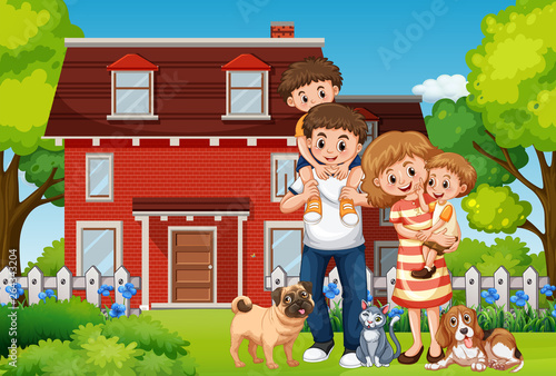 Canvas Prints Kids Family in front of house