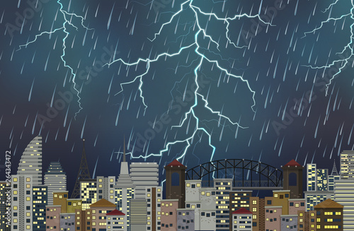 Thunderstorm night urban scene
