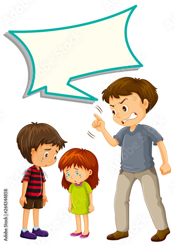 Poster Kids Father upset with children with speech balloon