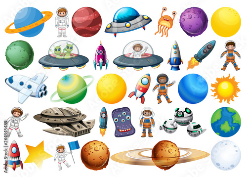 Recess Fitting Kids Set of space decor element