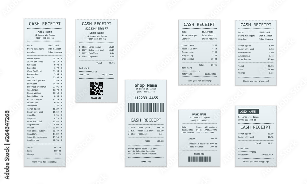 Fototapeta Set of receipt records, design template of bill ATM, paper financial check for mockup. . realistic payment paper bills for cash or credit card transaction.