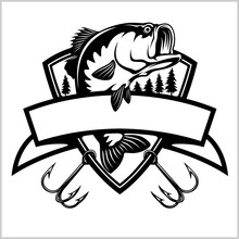 Fishing Logo. Bass Fish With Template Club Emblem. Fishing Theme Vector Illustration.