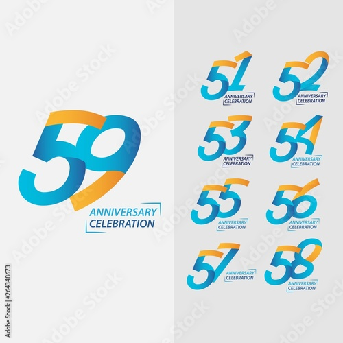 Poster de jardin Route 59 Year Anniversary Celebration Set Vector Template Design Illustration