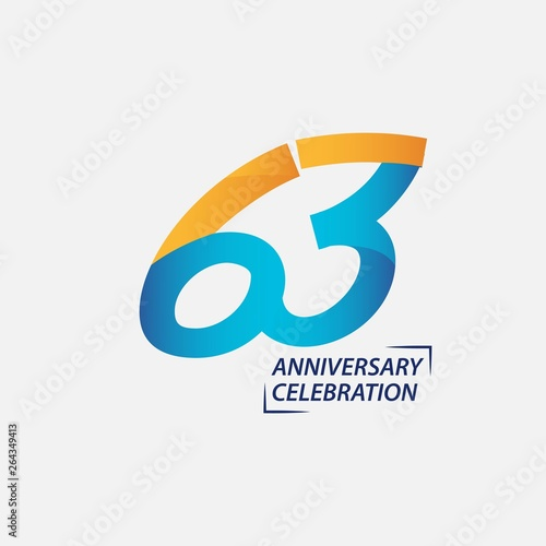 Papel de parede  63 Year Anniversary Celebration Vector Template Design Illustration