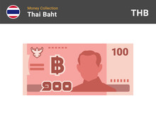 Thai Baht 100 Banknone. Paper Money Of Thailand. One Hundred THB. Flat Icon Style. Currency Symbol. Vector Illustration.