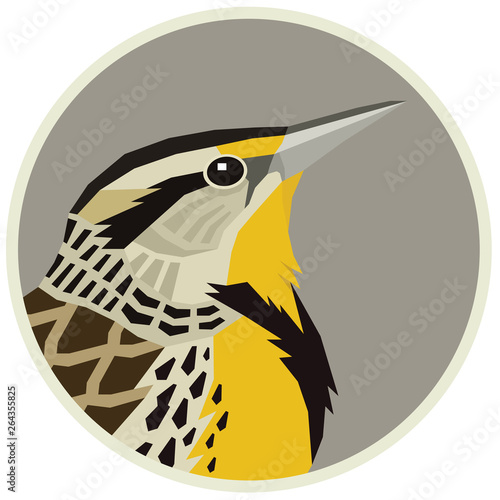 Western meadowlark Vector illustration of a bird in a round frame Canvas-taulu