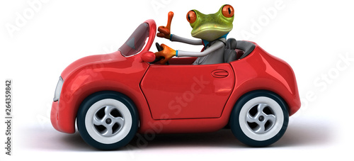 Aluminium Prints Equestrian Fun frog - 3D Illustration