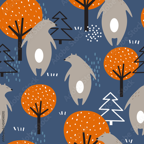 Seamless pattern, bears, fir trees and trees, hand drawn overlapping backdrop. Colorful background vector. Illustration with animals. Decorative wallpaper, good for printing