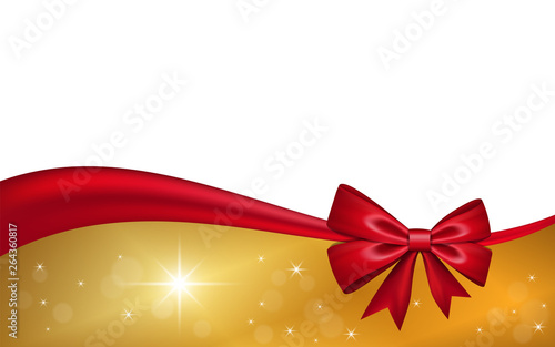Fototapeta Gold Gift Card With Red Ribbon Bow Isolated On White Background Decoration Stars Design For Christmas Holiday Celebration Greeting