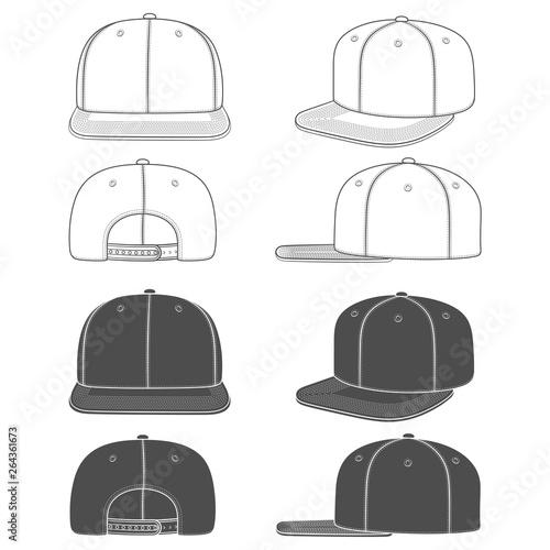 Fotografia  Set of black and white images of a rapper cap with a flat visor, snapback