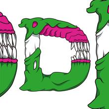 Letters D Monster Font. Alien Font