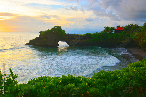 Foto auf Gartenposter Forest river Tanah Lot scenery during sunset - Temple in the Ocean. Bali, Indonesia