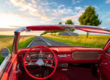 Retro Cabriolet Driving A Rural Road