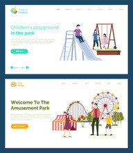 Children Playground Vector, Father With Kids, Welcome To Amusement Park. Mother With Daughter On Swings, Sand With Shovel And Bucket, Ferris Wheel. Website Or Webpage Template, Landing Page Flat Style
