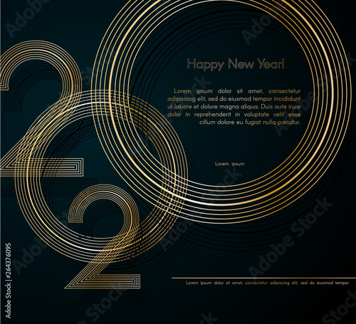 Fototapeta Gold Lines 2020 New Year On A Dark Background Creative Element For Design Luxury Cards Invitations Party For The New Year 2020 And