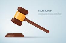 Judge Wood Hammer Background. Concept Of Justice. Vector Illustration EPS10