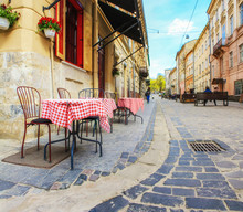 Outdoor Cafe In The Old Town. ...