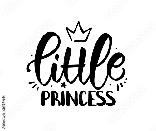 Fotografie, Obraz Hand drawn lettering composition of Little Princess with crown on white background