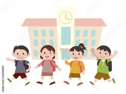 子供 下校 学校 キッズ Canvas-taulu