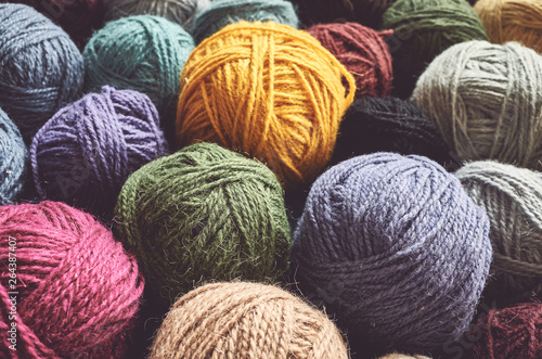 Fotografia, Obraz Vintage toned picture of wool yarn balls, shallow depth of field.