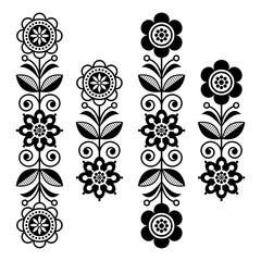 Scandinavian floral design elements, folk art patterns - long stripes in black and white