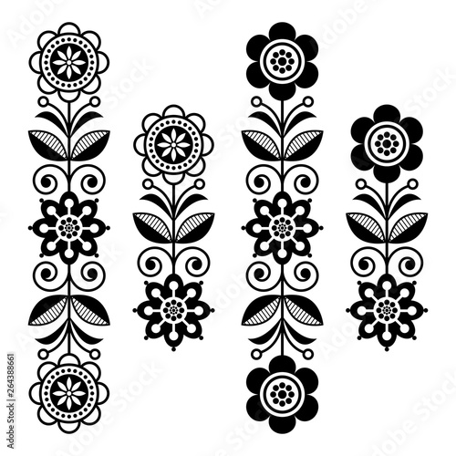 Fotografija  Scandinavian floral design elements, folk art patterns - long stripes in black a